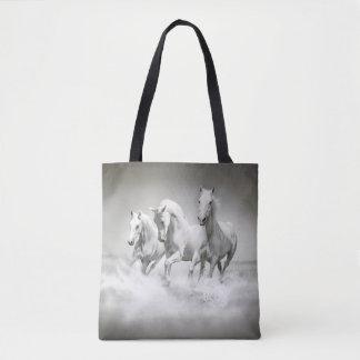 Wild White Horses All-Over-Print Tote Bag