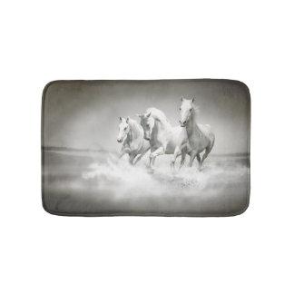 Wild White Horses Bath Mats