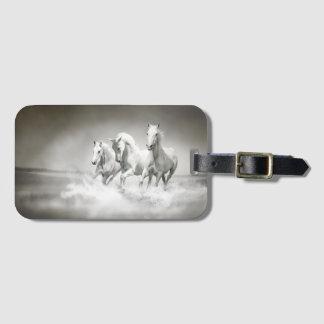 Wild White Horses Luggage Tag