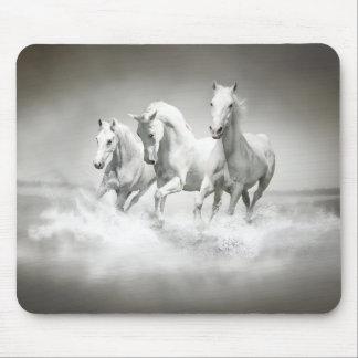 Wild White Horses Mouse Pad