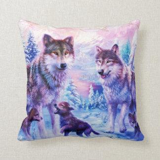 Wild Wolf Family Throw Pillow