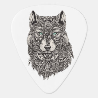 Wild Wolf Head Detailed Illustration Guitar Pick