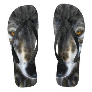Wild Wolf Inspirational Portrait Flip Flops