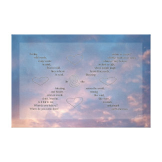 """""""Wild Words"""" on Blue/ Pink Sunset Sky Canvas Stretched Canvas Print"""