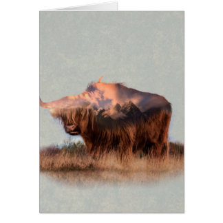 Wild yak - Yak nepal - double exposure art - ox Card