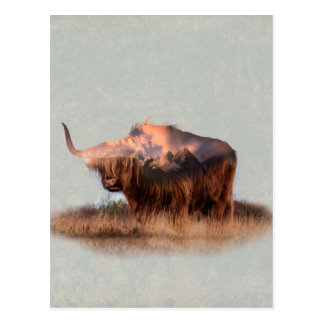 Wild yak - Yak nepal - double exposure art - ox Postcard