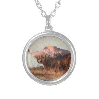 Wild yak - Yak nepal - double exposure art - ox Silver Plated Necklace