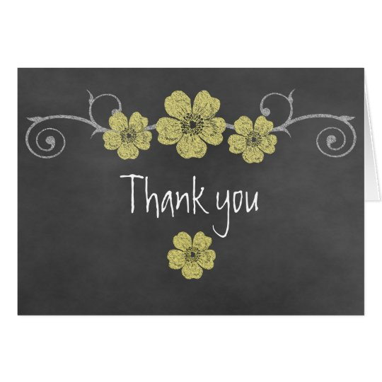 Wild Yellow Roses Chalkboard Thank You Note Card