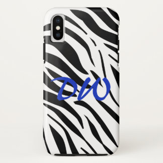 Wild Zebra Electic Blue Personalized iPhone X Case