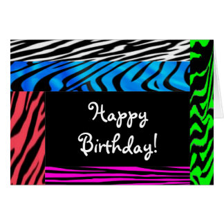 wild zebra print happy birthday card