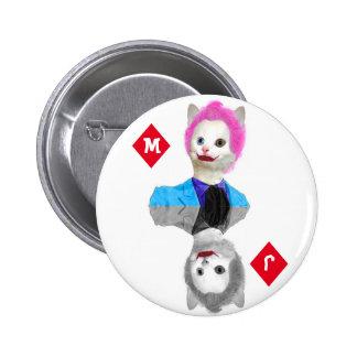 Wildcard Clown Cat - Initials on Diamond Suit 2 Inch Round Button