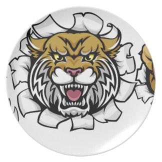 Wildcat American Football Mascot Plate