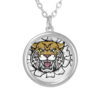 Wildcat American Football Mascot Silver Plated Necklace