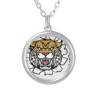 Wildcat Basketball Ball Mascot Silver Plated Necklace