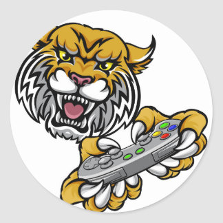 Wildcat Bobcat Player Gamer Mascot Classic Round Sticker