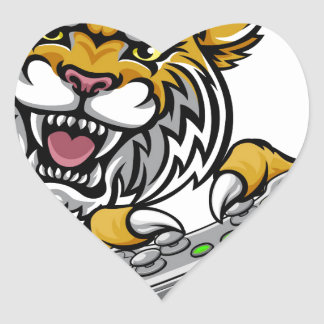 Wildcat Bobcat Player Gamer Mascot Heart Sticker
