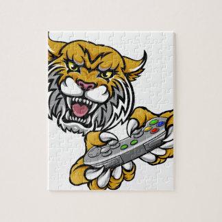 Wildcat Bobcat Player Gamer Mascot Jigsaw Puzzle