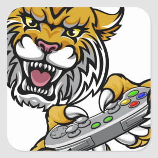 Wildcat Bobcat Player Gamer Mascot Square Sticker