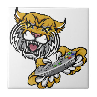 Wildcat Bobcat Player Gamer Mascot Tile