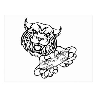 Wildcat Gamer Mascot Postcard
