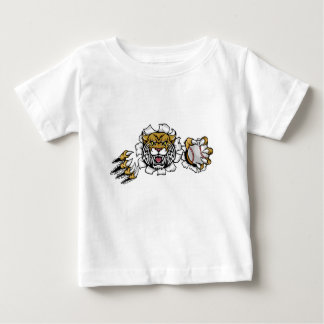 Wildcat Holding Baseball Ball Breaking Background Baby T-Shirt