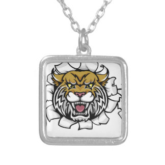 Wildcat Holding Baseball Ball Breaking Background Silver Plated Necklace