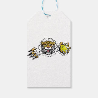 Wildcat Holding Tennis Ball Breaking Background Gift Tags