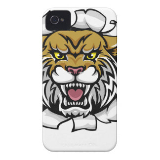 Wildcat Holding Tennis Ball Breaking Background iPhone 4 Case-Mate Case