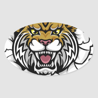 Wildcat Holding Tennis Ball Breaking Background Oval Sticker