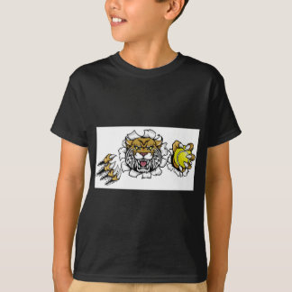 Wildcat Holding Tennis Ball Breaking Background T-Shirt