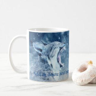 Wildcat in snow coffee mug