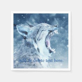 Wildcat in snow paper napkins