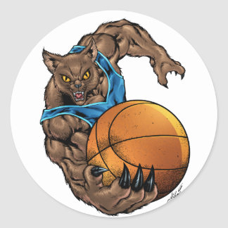 Wildcats Bobcats Basketball, Blue, L. Blue Stripe Classic Round Sticker