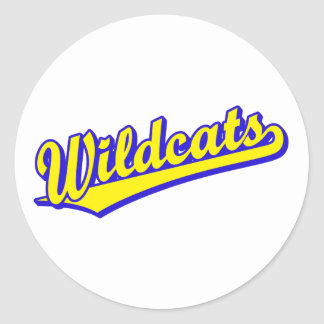 Wildcats script logo in gold and blue classic round sticker