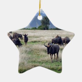 Wildebeest herd ceramic ornament