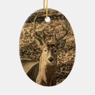 wilderness Camouflage outdoorsman whitetail deer Ceramic Ornament