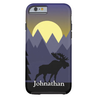 Wilderness Forest Moose & Sunset Custom Name Tough iPhone 6 Case