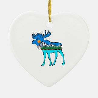 Wilderness Moose Ceramic Heart Ornament