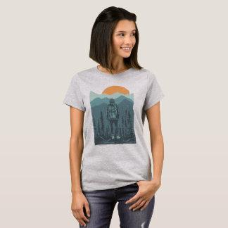 Wilderness Mountain Sunset Hiker Girl T-Shirt