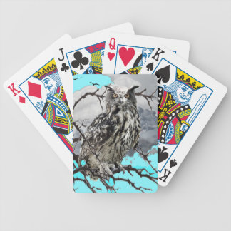 WILDERNESS OWL IN TREE &  BLUE  SKIES BICYCLE PLAYING CARDS