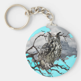 WILDERNESS OWL IN TREE &  BLUE  SKIES KEYCHAIN
