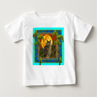 WILDERNESS OWL WITH FULL MOON PINE TREES BABY T-Shirt