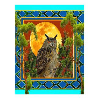 WILDERNESS OWL WITH FULL MOON PINE TREES LETTERHEAD