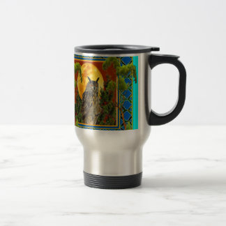WILDERNESS OWL WITH FULL MOON PINE TREES TRAVEL MUG
