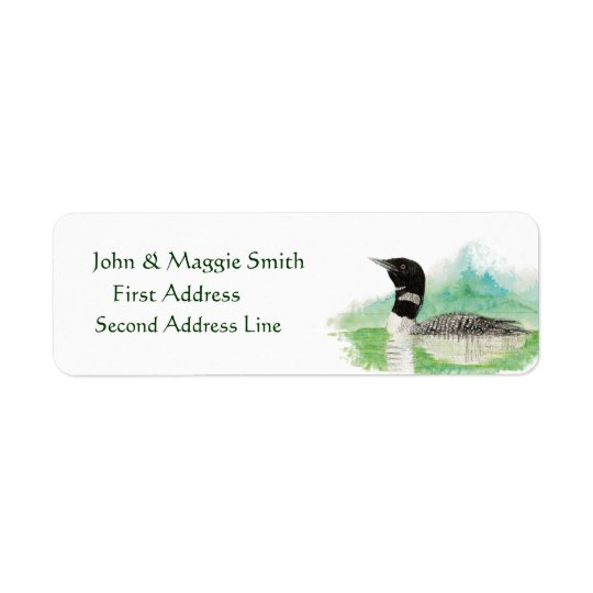 Wilderness Watercolor Bird Loon Address Label