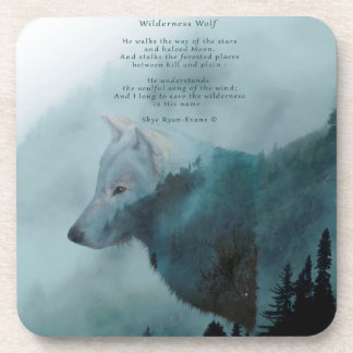 Wilderness Wolf & Eco Poem Coaster