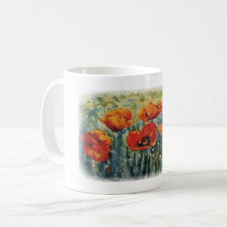 Wildf poppies in watercolour coffee mug