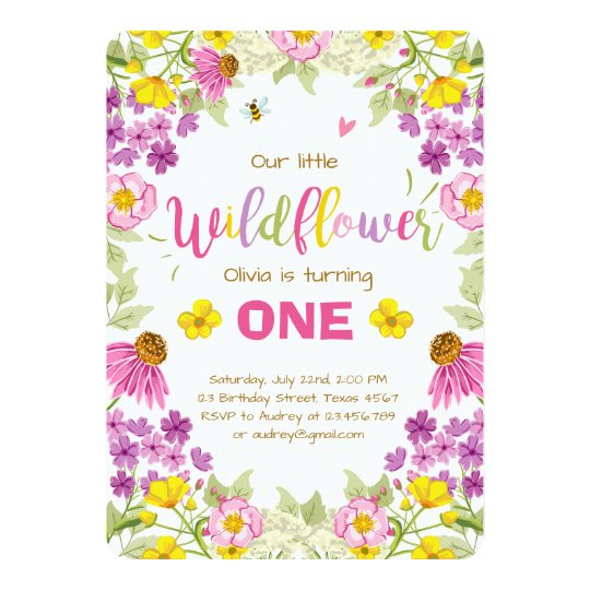 Wildflower birthday invitation Floral Girl pink