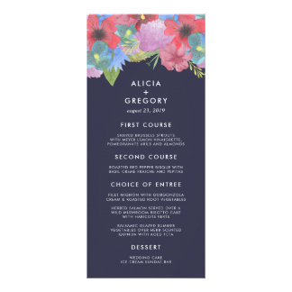 Wildflower Bouquet | Midnight Blue Wedding Menu Rack Card