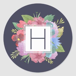 Wildflower Bouquet Navy Monogram Classic Round Sticker